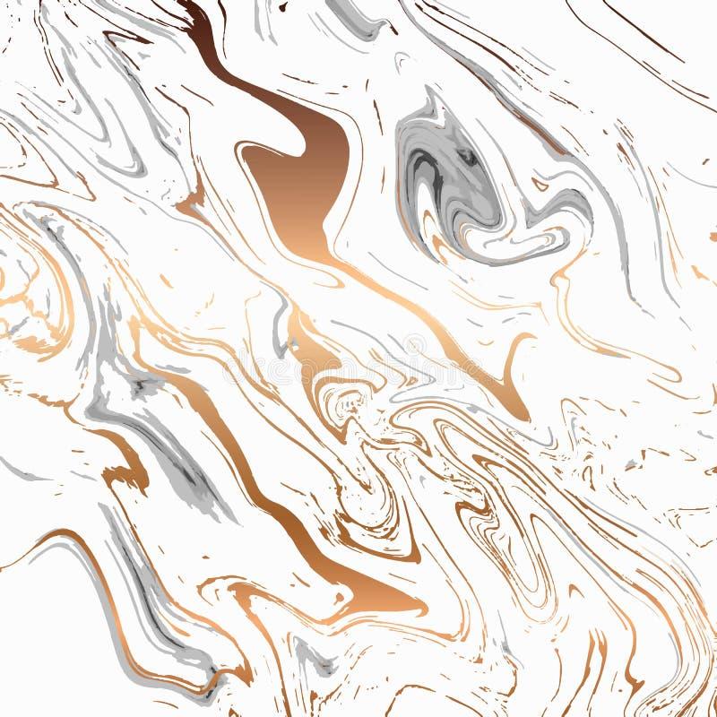 Жидкостный мраморный дизайн текстуры, красочная мраморизуя поверхность, черно-белая с золотом, живым абстрактным дизайном краски, бесплатная иллюстрация