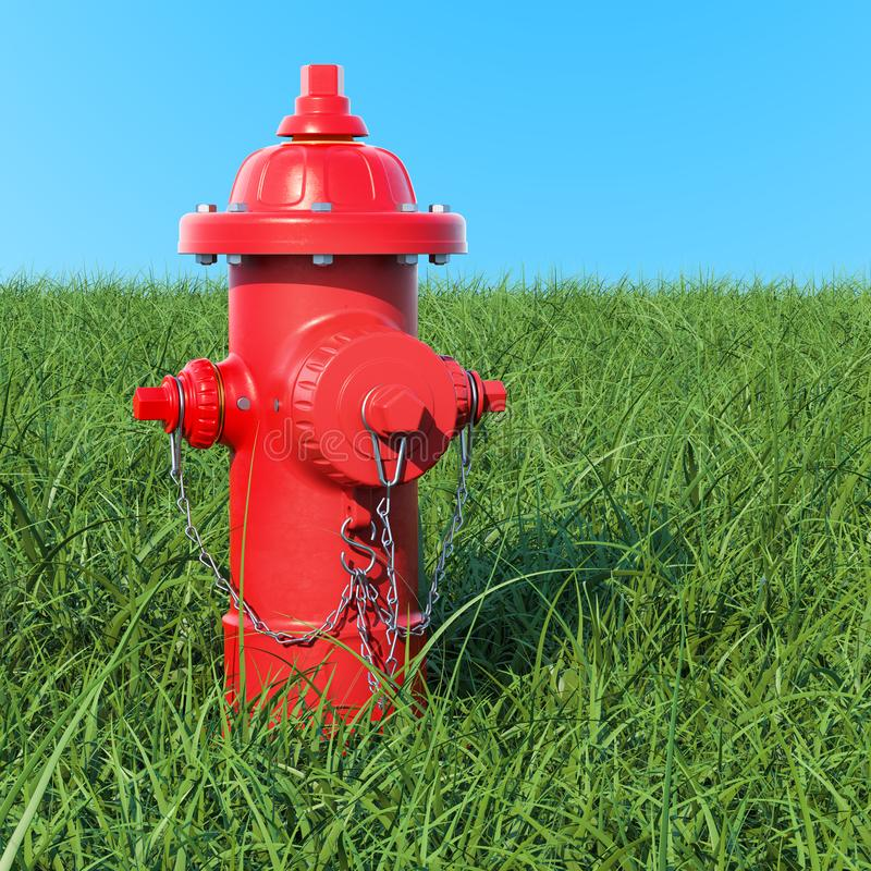 Жидкостный огнетушитель в зеленой траве против голубого неба, перевода 3D иллюстрация вектора