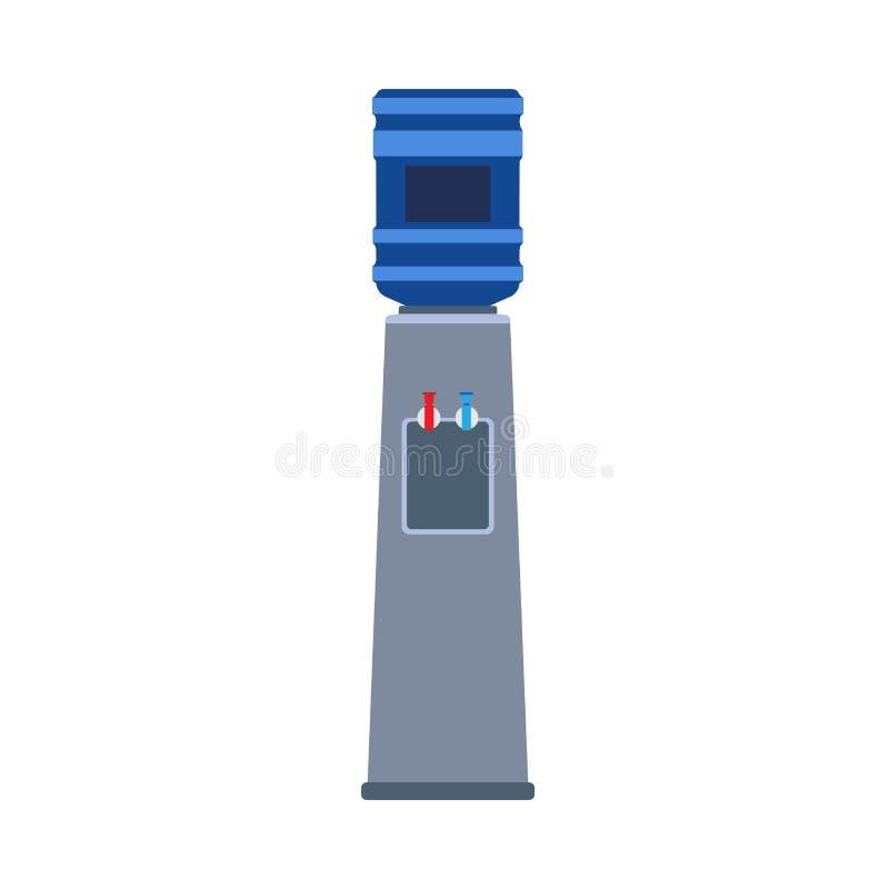Жидкость значка вектора распределителя воды плоская Оборудование более крутого офиса напитка бутылки пластиковое Голубым очищенна иллюстрация штока