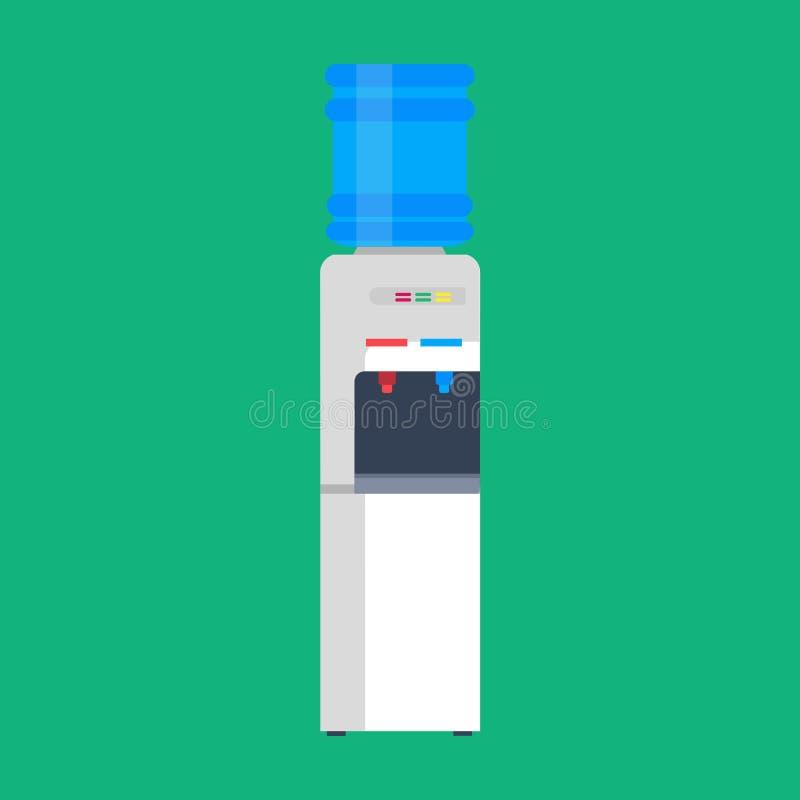 Жидкость значка вектора распределителя воды плоская Оборудование более крутого офиса напитка бутылки пластиковое Голубым очищенна бесплатная иллюстрация