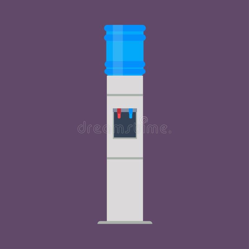 Жидкость значка вектора распределителя воды плоская Оборудование более крутого офиса напитка бутылки пластиковое Голубым очищенна иллюстрация вектора