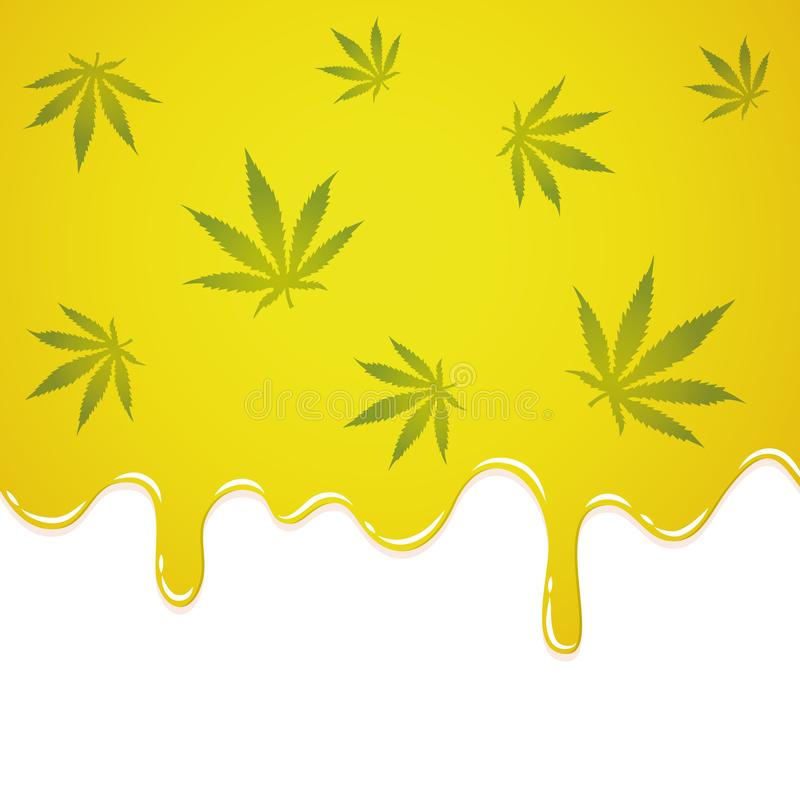 Жидкость масла жидкая желтая с лист конопли иллюстрация штока