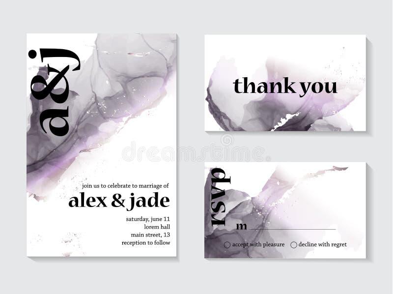 Жидкость мрамора вектора конспекта в holographicgray фиолетовых пурпурных цветах Текстура краски акварели с текстом приглашения с иллюстрация вектора