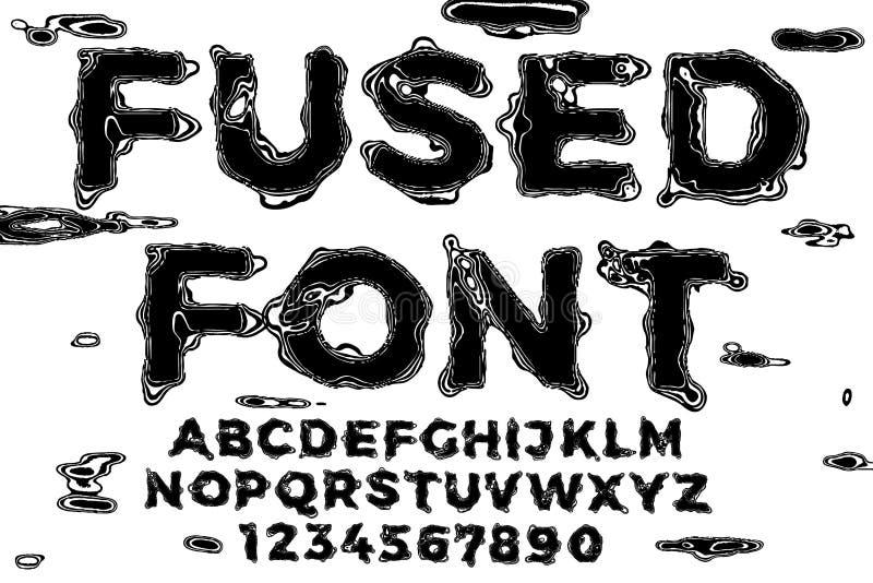 Жидкость черноты шрифта вектора плавит письма с небольшим затруднением иллюстрация вектора