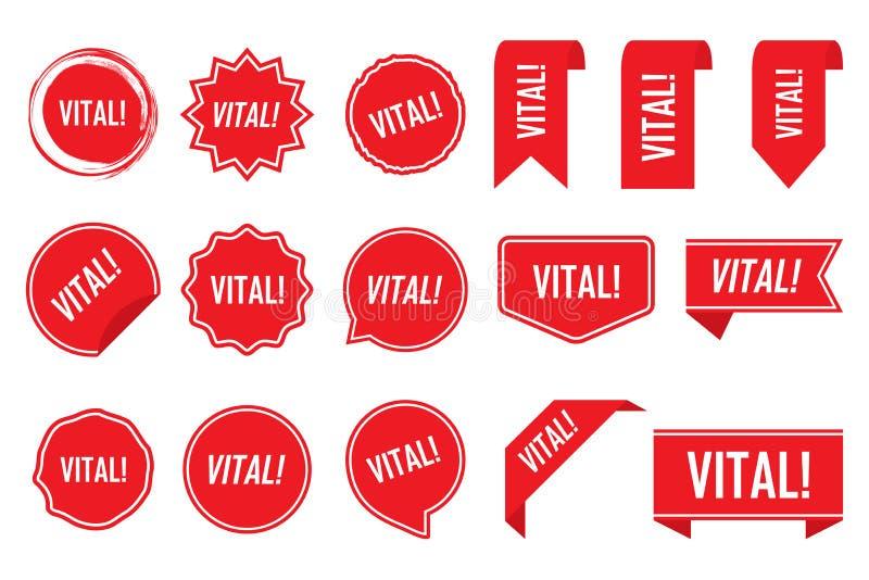 Жизненно важная бирка установленная в красный цвет также вектор иллюстрации притяжки corel иллюстрация вектора