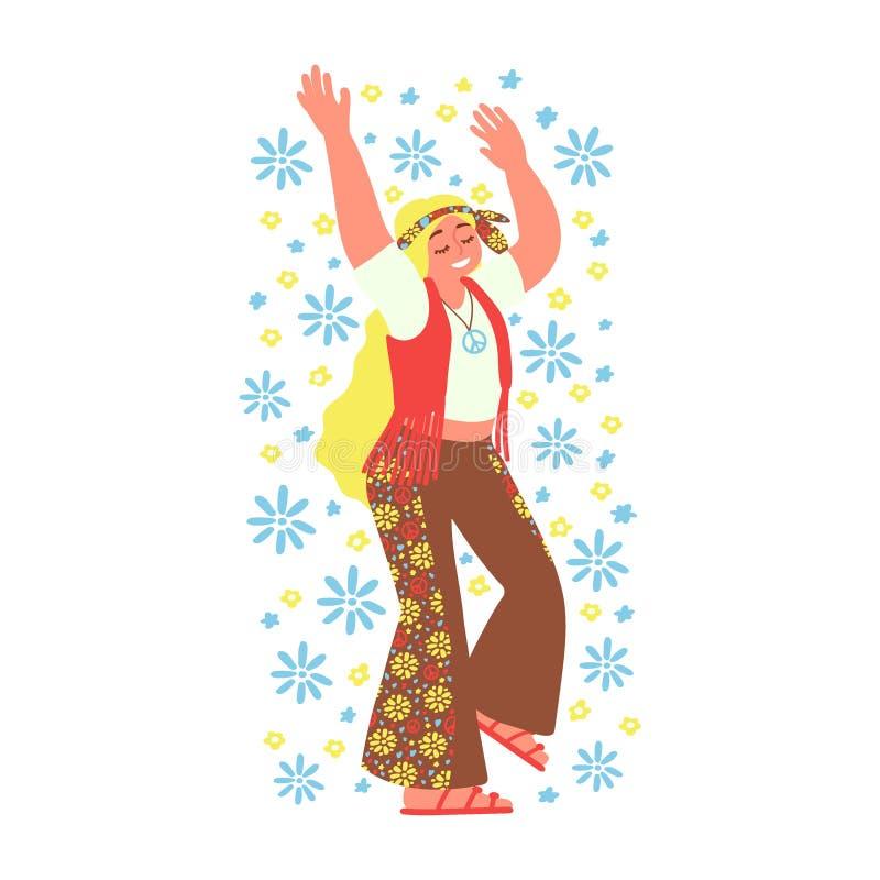 Жизнерадостная девушка hippie изолированная на белой предпосылке Субкультура r иллюстрация вектора