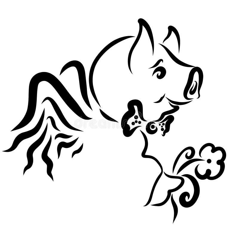 Жизнерадостная, который подогнали свинья с цветком и бабочкой иллюстрация штока