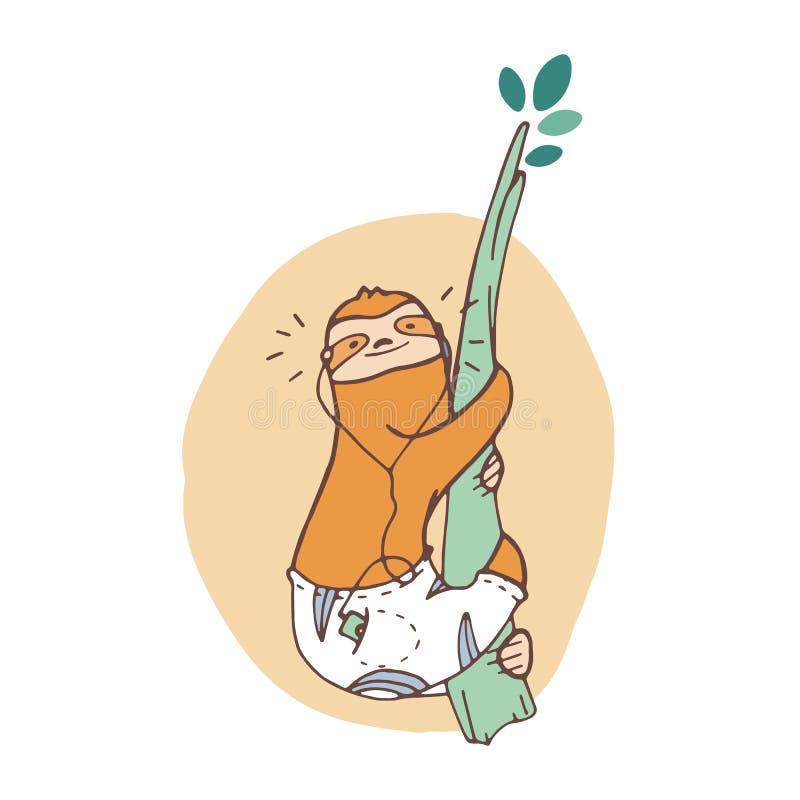 Жизнерадостная лень вползая вверх по ветви дерева и слушая к музыке Усмехаясь дикое экзотическое животное Милый персонаж из мульт иллюстрация штока