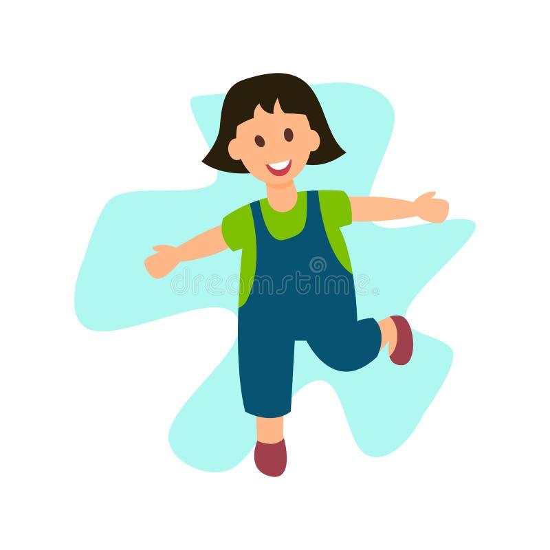 Жизнерадостная маленькая девочка бежать плоский характер вектора иллюстрация вектора