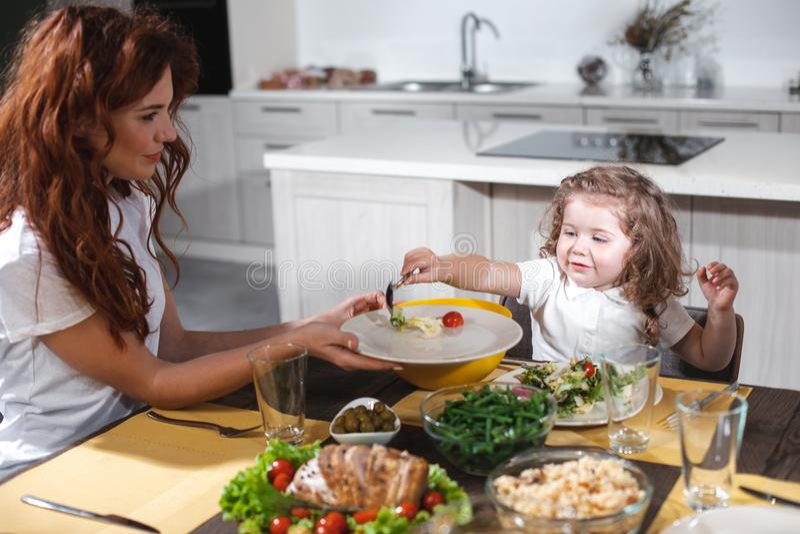 Жизнерадостная мать и дочь имея обед совместно стоковое изображение rf
