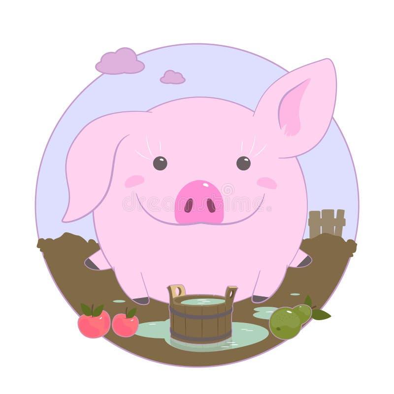 Жизнерадостная очаровательная розовая свинья На белой предпосылке иллюстрация штока
