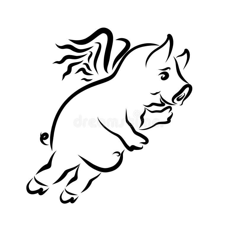 Жизнерадостная свинья летая развевая его рука, черный контур иллюстрация штока