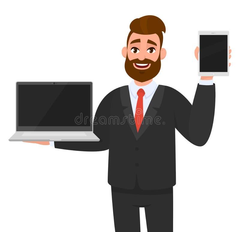 Жизнерадостное удерживание бизнесмена или показывать самый последний бренд, пустой ПК ноутбука экрана и плату, планшет, пусковую  иллюстрация вектора