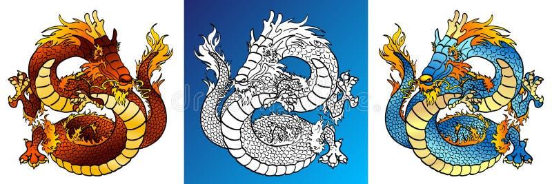 Жизнерадостные драконы красочные и лини-искусство иллюстрация штока