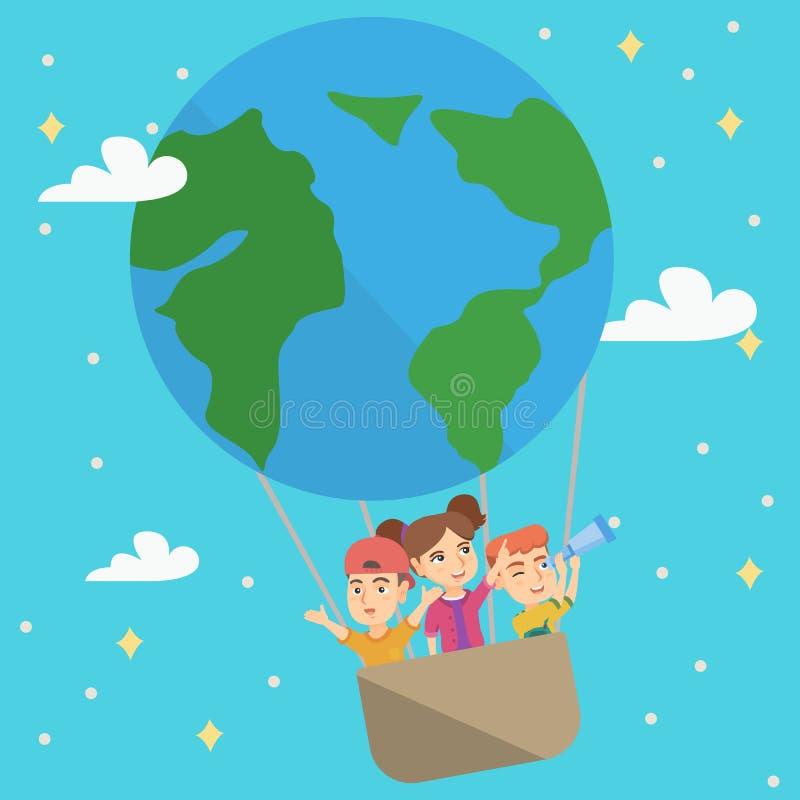 Жизнерадостные кавказские дети ехать горячий воздушный шар бесплатная иллюстрация