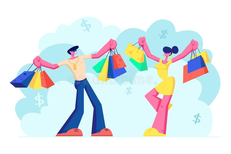 Жизнерадостные люди держа хозяйственные сумки с приобретениями Усмехаясь характеры семьи женщины и человека с бумажной упаковкой иллюстрация штока