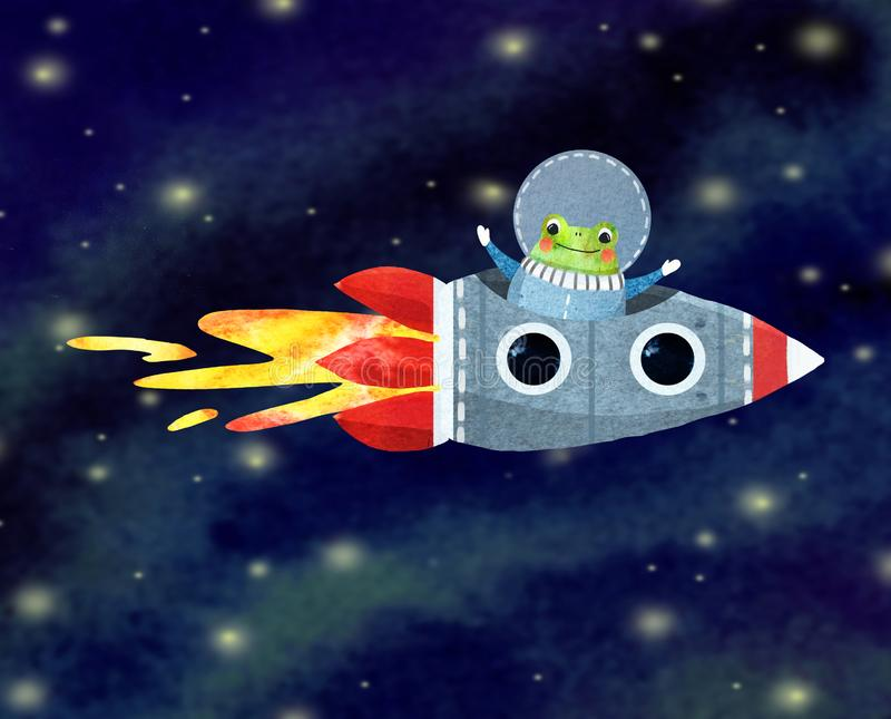 жизнерадостный астронавт, смешная лягушка иллюстрация вектора