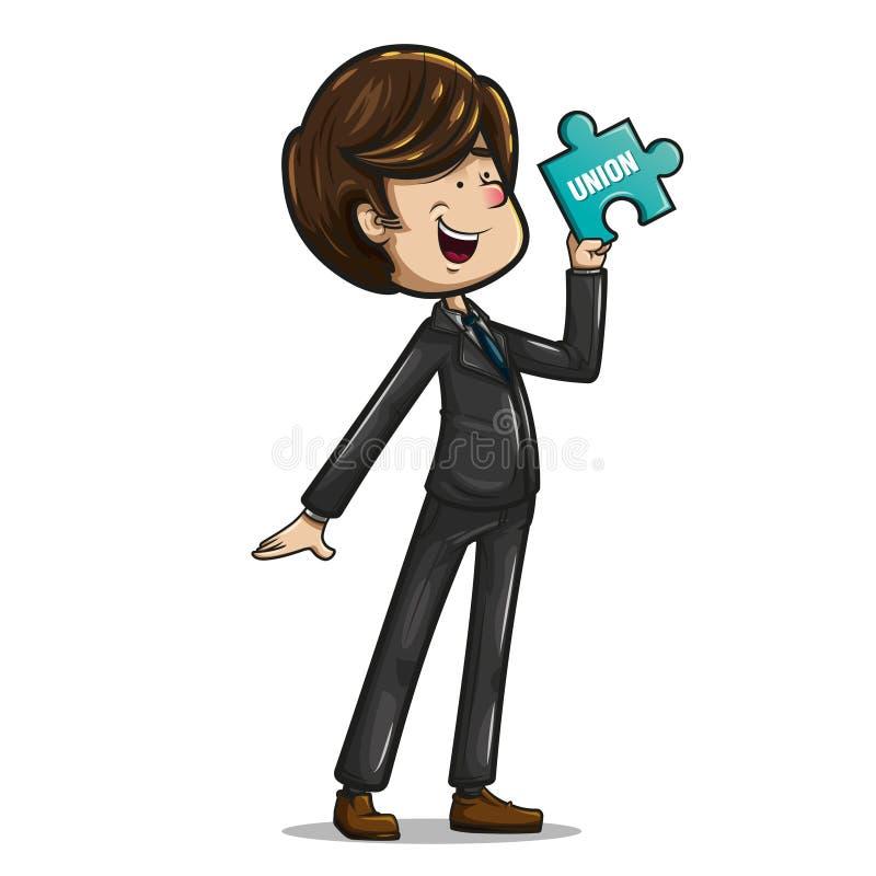 Жизнерадостный бизнесмен представляя с частью головоломки стоковое изображение