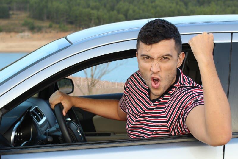 Жизнерадостный водитель празднуя победу стоковое фото rf
