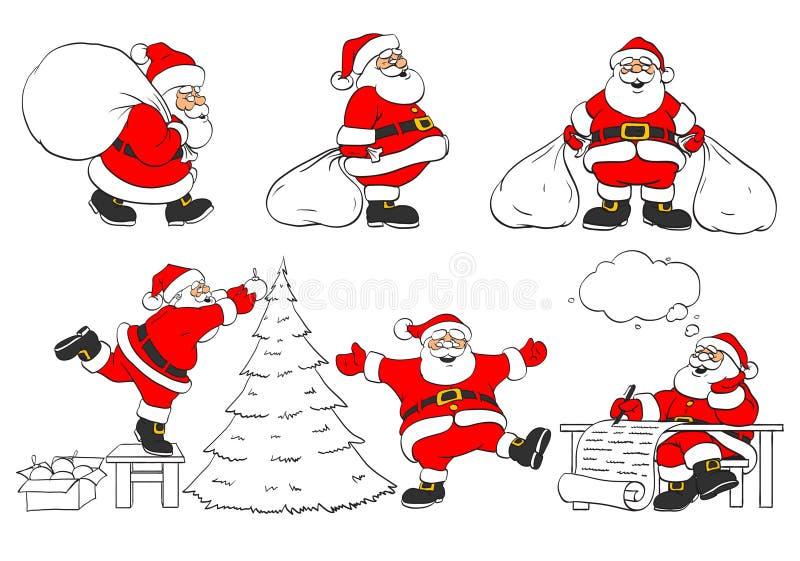 жизнерадостный комплект santa клаузул рождества иллюстрация штока