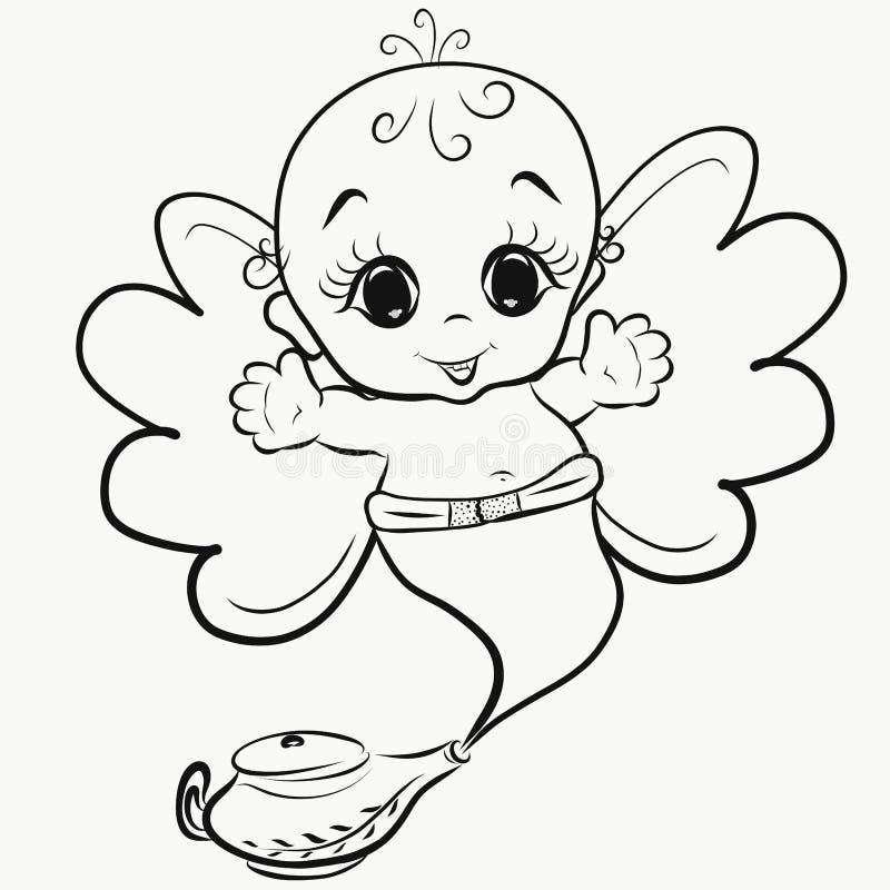 Жизнерадостный маленький, который подогнали джин лампы бесплатная иллюстрация