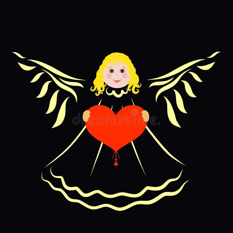 Жизнерадостный милый ангел с сердцем в его руках, черной предпосылкой иллюстрация штока