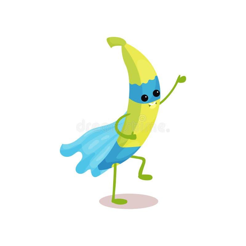 Жизнерадостный персонаж из мультфильма банана супергероя с голубой накидкой и маски в действии иллюстрация вектора