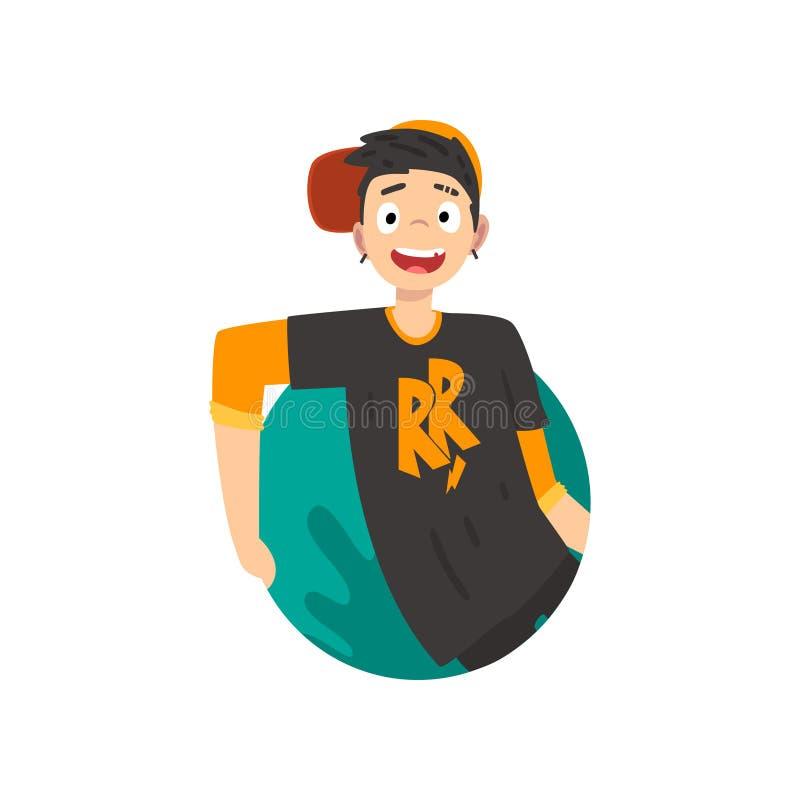 Жизнерадостный предназначенный для подростков мальчик смотря вне иллюстрацию вектора мультфильма округлой формы иллюстрация вектора