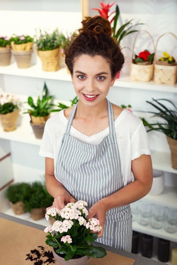 Жизнерадостный профессиональный флорист смотря вас стоковые изображения