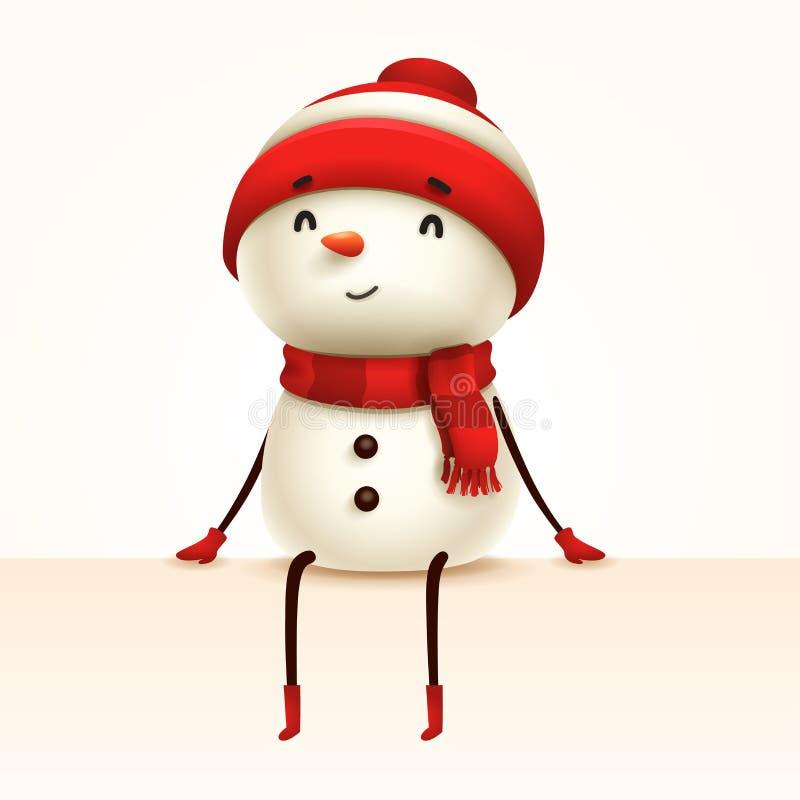 Жизнерадостный снеговик сидит на крае изолировано иллюстрация штока
