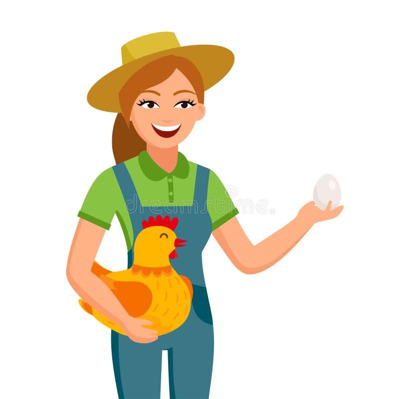 Жизнерадостный фермер девушки держит яичко и милую курицу в персонажах из мультфильма рук в плоском дизайне изолированных на бели бесплатная иллюстрация