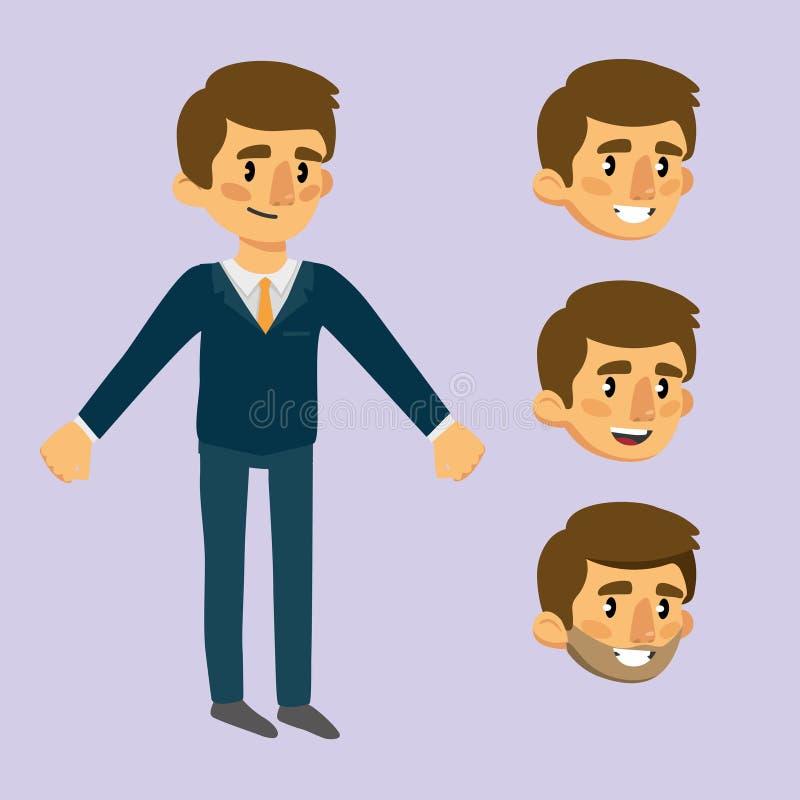 Жизнерадостный человек в костюме комплект эмоциональных сторон для анимации иллюстрация штока