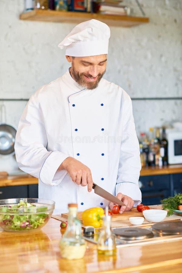 Жизнерадостный шеф-повар работая в кухне ресторана стоковая фотография rf