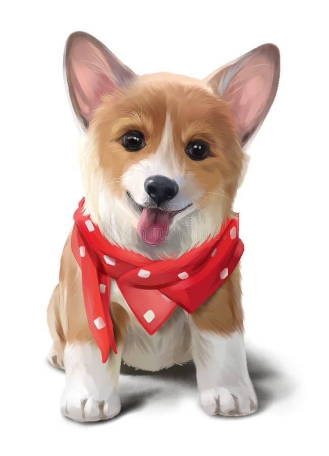 Жизнерадостный Corgi в красной картине акварели носового платка иллюстрация штока