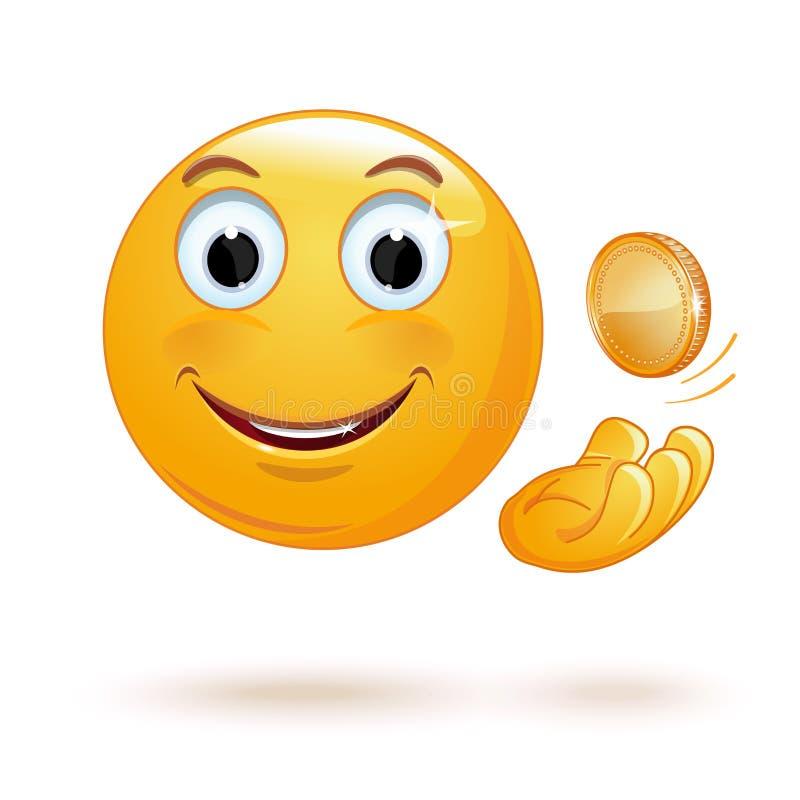 Жизнерадостный smiley мечет вверх по монетке иллюстрация вектора