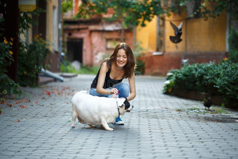 Жизнерадостная девушка в футболке и джинсах, штрихуя тучную собаку, в t стоковое фото rf