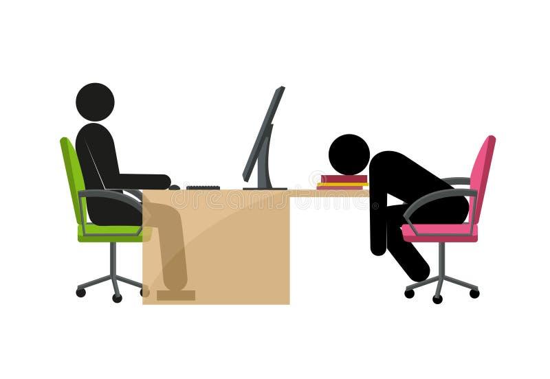 Жизнерадостная и утомленная ручка укомплектовывает личным составом в офисе иллюстрация вектора