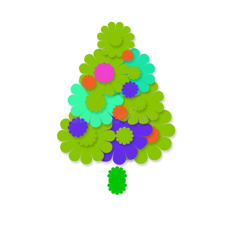 Жизнерадостная поздравительная открытка рождественской елки иллюстрация штока