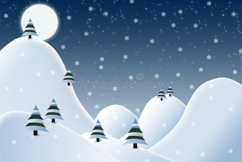 Жизнерадостная снежная иллюстрация сцены зимы ночи иллюстрация штока