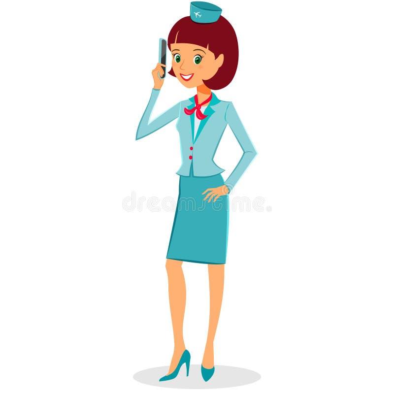 Жизнерадостная стюардесса шаржа в равномерный говорить бесплатная иллюстрация