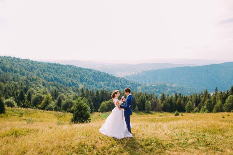 Жизнерадостное как раз пожененное вино пар выпивая outdoors, празднующ их замужество Предпосылка холмов передних частей стоковое изображение