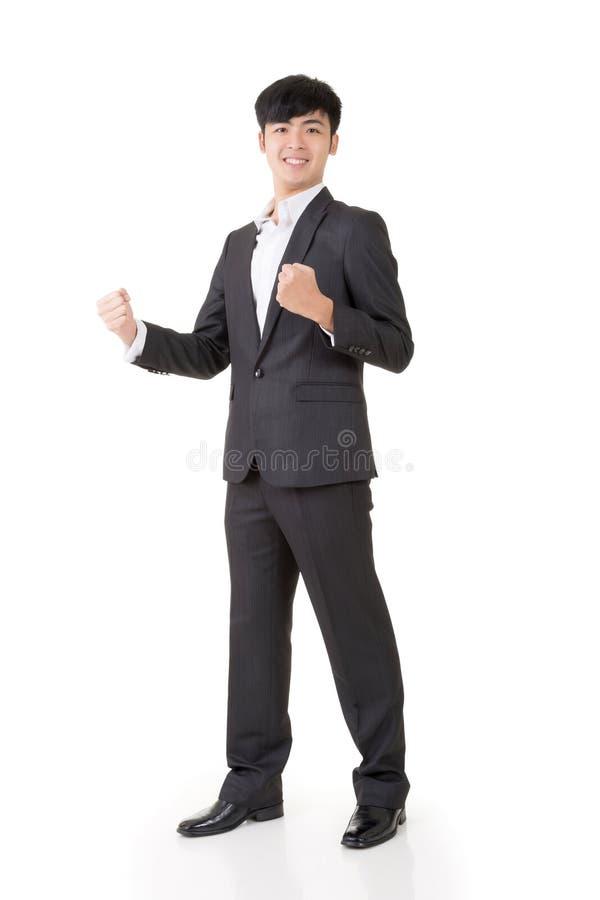 Жизнерадостный и exciting бизнесмен стоковые изображения rf