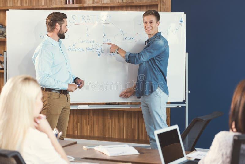Жизнерадостные мужчины объясняя стратегии работы в тренировке офиса стоковая фотография rf