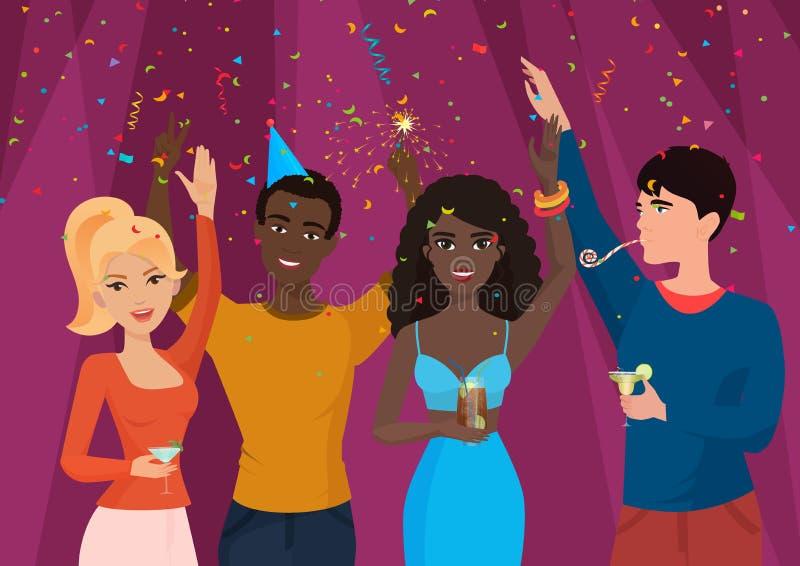 Жизнерадостные черно-белые люди стоя в падая confetti и празднуя Парни вечеринки по случаю дня рождения иллюстрация штока