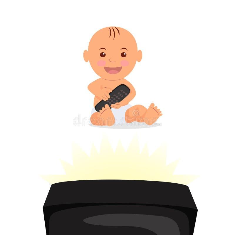 Жизнерадостный малыш сидя и смотря ТВ Изолированный младенец характера с дистанционным управлением в руке иллюстрация штока