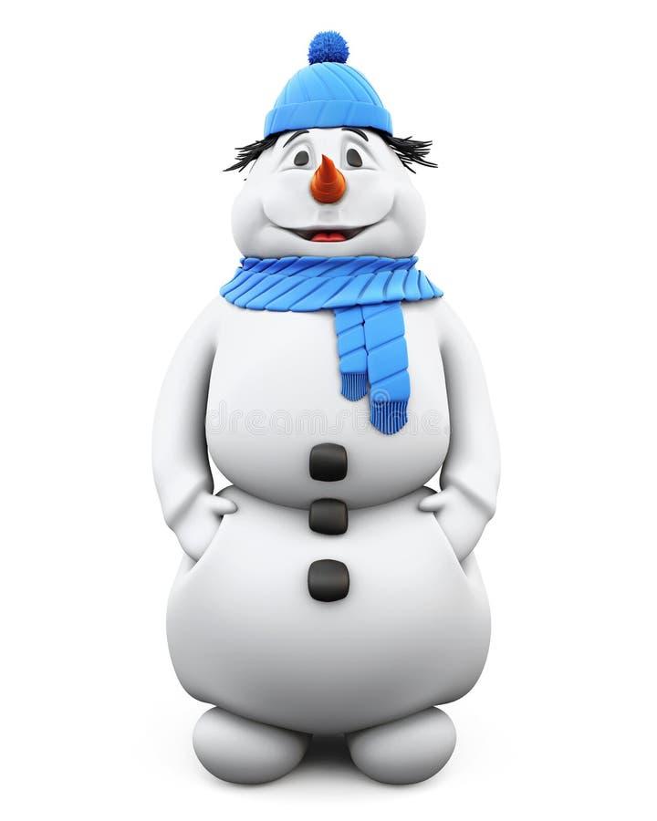Жизнерадостный снеговик в голубых шляпе и шарфе 3d иллюстрация вектора