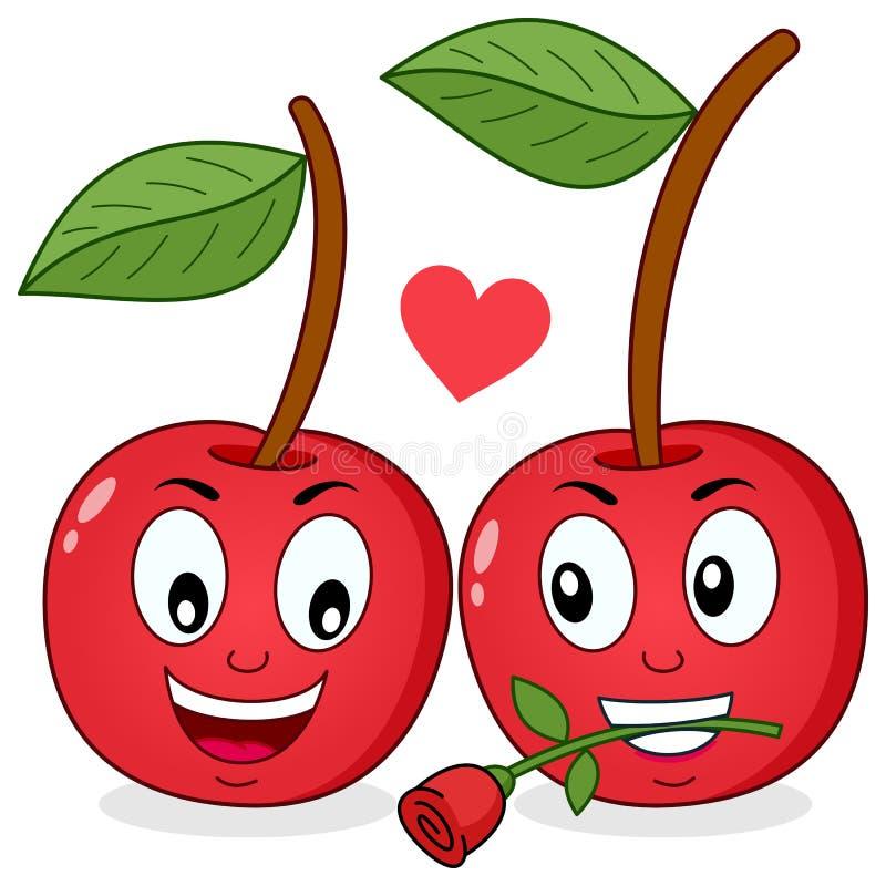2 жизнерадостных вишни шаржа в влюбленности иллюстрация штока