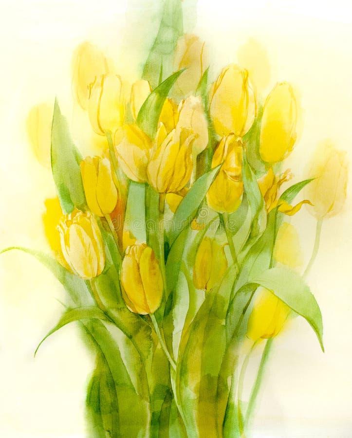 жизни бумаги желтый цвет акварели тюльпанов все еще стоковые фото