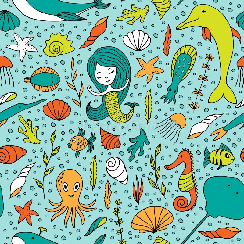 Жизнь безшовной картины морская иллюстрация вектора