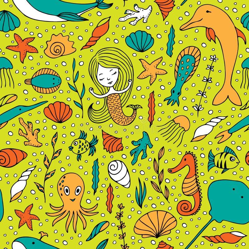 Жизнь безшовной картины морская иллюстрация штока